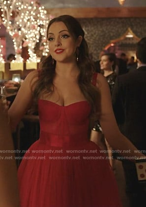Fallon's red bustier tulle dress on Dynasty