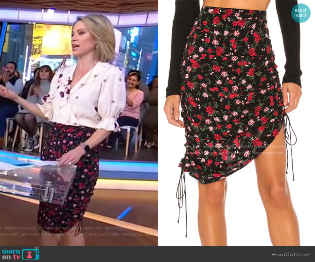 Molly Drawstring Skirt by For Love & Lemons worn by Amy Robach  on Good Morning America