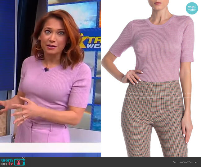 Crew Neck Short Sleeve Sweater by Frame worn by Ginger Zee  on Good Morning America