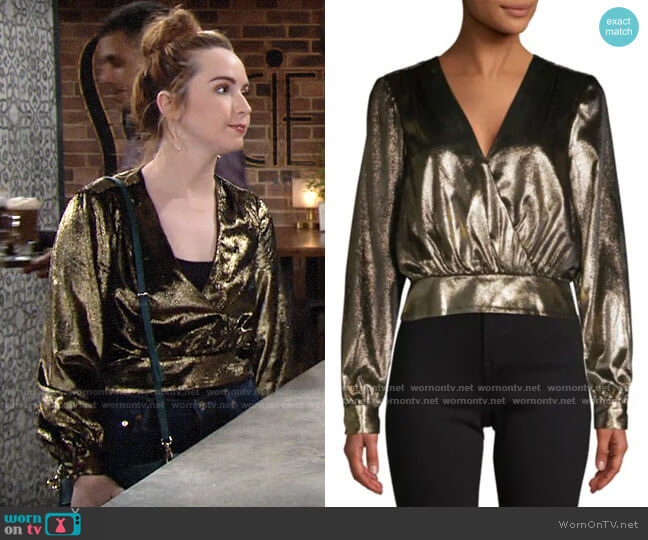 Frame Metallic Blouson Top worn by Mariah Copeland (Camryn Grimes) on The Young & the Restless
