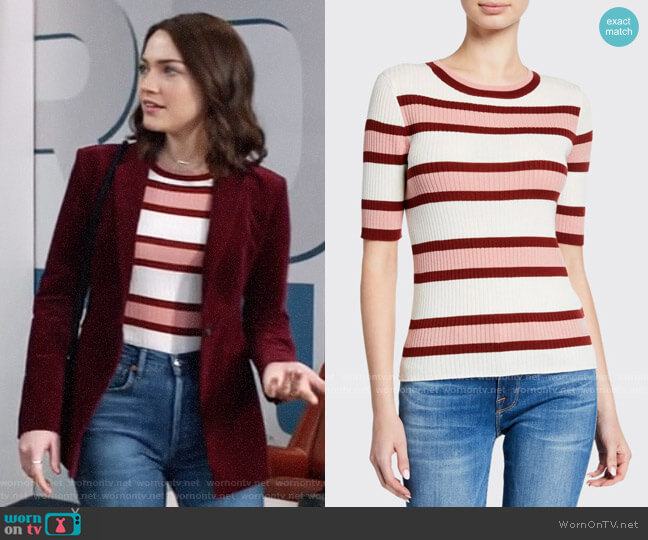 Frame Panel Stripe Ribbed Short-Sleeve Sweater worn by Cara Bloom (Violett Beane) on God Friended Me