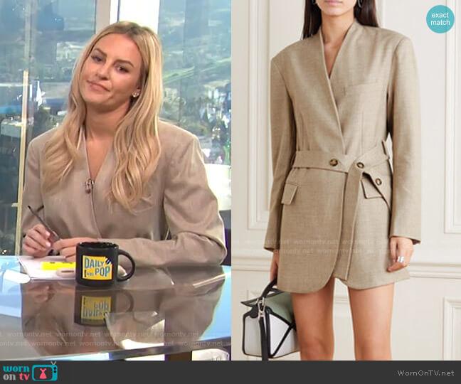 Belted Wool-Blend Wrap Blazer by Frankie Shop worn by Morgan Stewart  on E! News