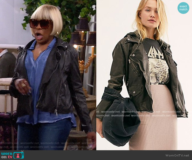Free People Just Friends Vegan Moto Jacket worn by Tina (Tichina Arnold) on The Neighborhood