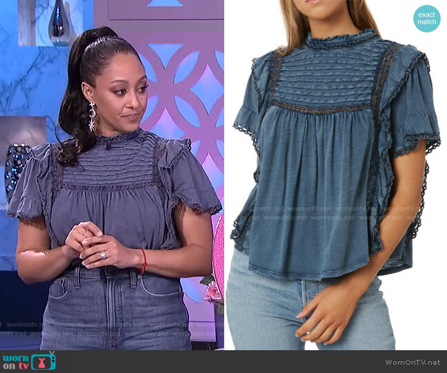 Le Femme Tee by Free People worn by Tamera Mowry  on The Real
