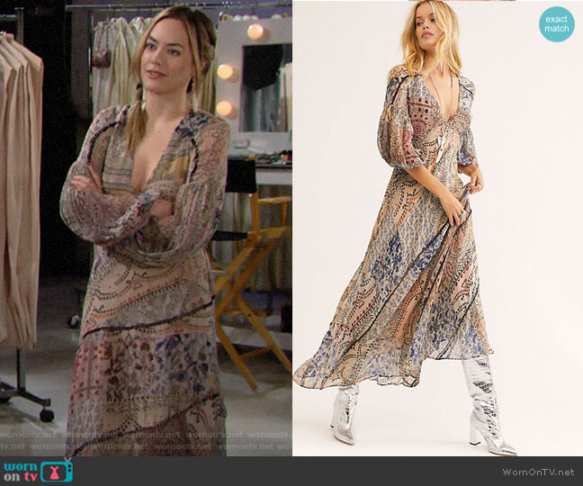 Free People Moroccan Dreams Maxi Dress worn by Hope Logan (Annika Noelle) on The Bold & the Beautiful