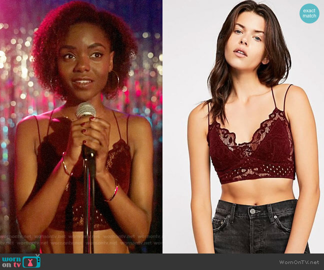 Free People Madonna Lace Bralette worn by Josie McCoy (Ashleigh Murray) on Katy Keene