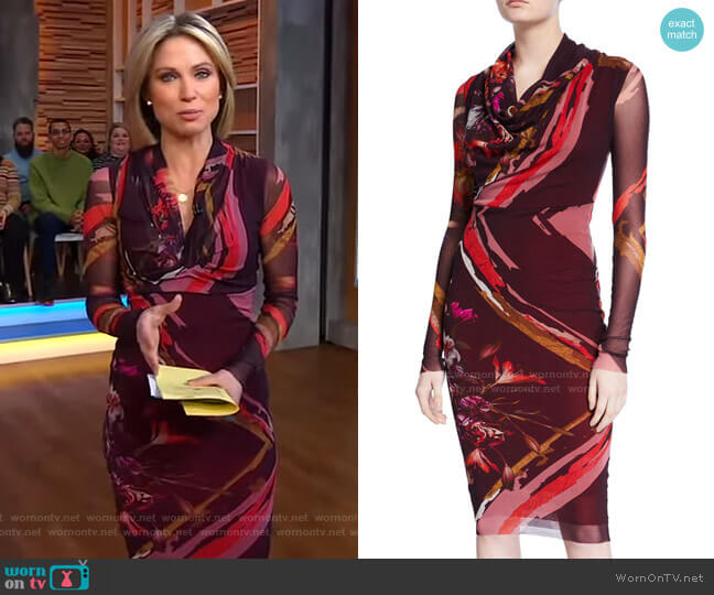 Patchwork Flower Cowl-Neck Long-Sleeve Dress by Fuzzi worn by Amy Robach  on Good Morning America