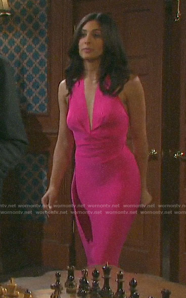 Gabi's pink halter neck dress on Days of our Lives