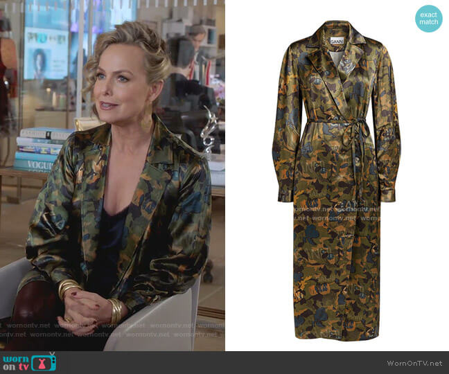 Camouflage Heavy Satin Shirt Dress by Ganni worn by Jacqueline (Melora Hardin) on The Bold Type