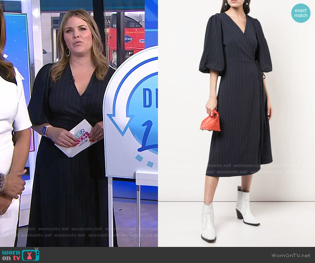 Total Eclipse Pinstripe Wrap Dress by Ganni worn by Jenna Bush Hager  on Today