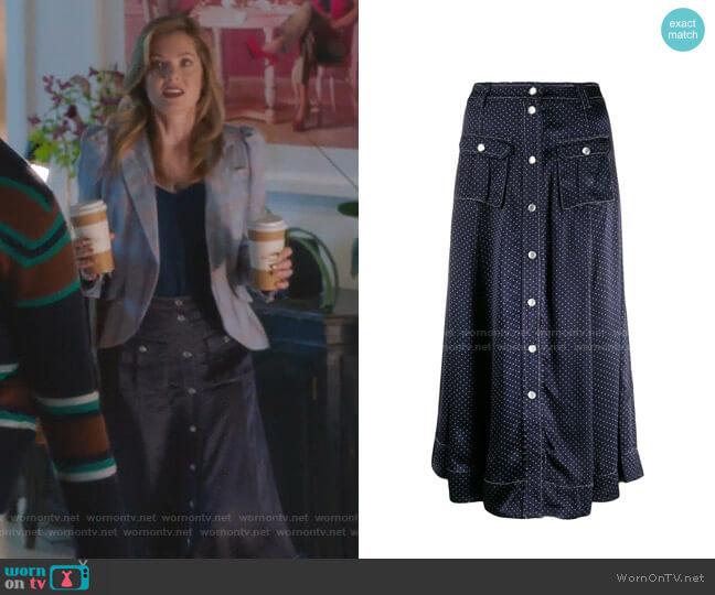 Dot Print Midi Skirt by Ganni worn by Sutton (Meghann Fahy) on The Bold Type