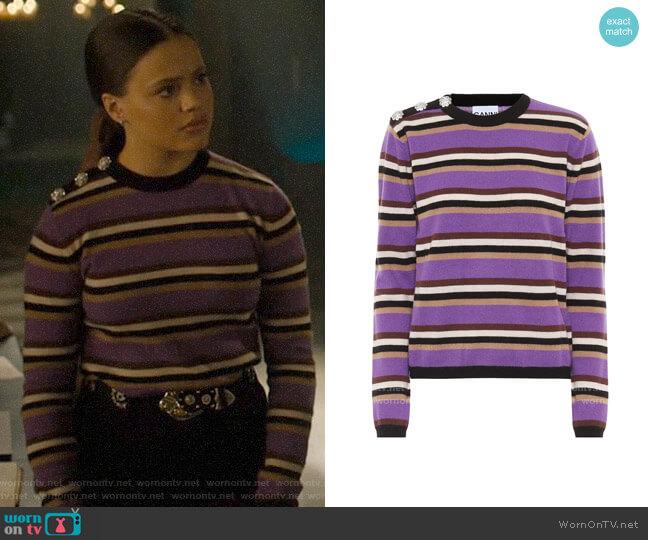Ganni Embellished striped cashmere sweater worn by Maggie Vera (Sarah Jeffery) on Charmed