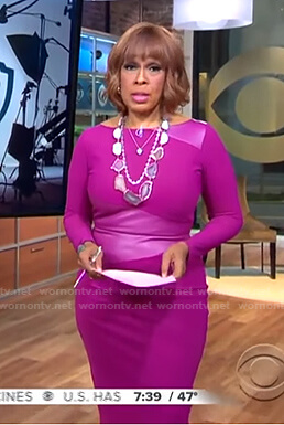 Gayle's pink leather panel dress on CBS This Morning