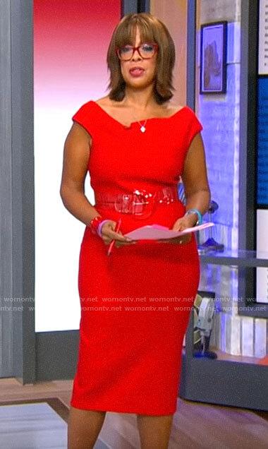 Gayle's red asymmetric neckline dress on CBS Mornings