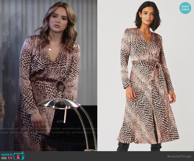 Ghost London Alicia Spot Animal Meryl Dress worn by Summer Newman (Hunter King) on The Young & the Restless