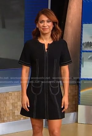 Ginger's black mini dress with white stitching on Good Morning America