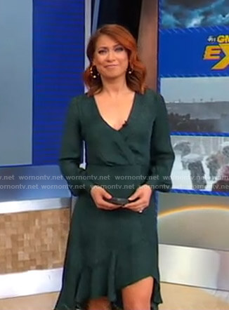 Ginger's green asymmetric wrap dress on Good Morning America
