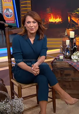Ginger's teal tie waist jumpsuit on Good Morning America
