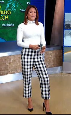 Ginger's white sweater and checked cropped pants on Good Morning America