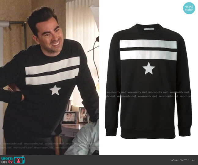 Star Sweater by Givenchy worn by David Rose (Daniel Levy) on Schitts Creek