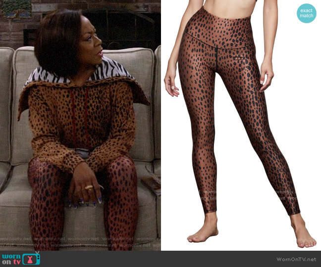 Good American Core Power Leopard Spot 7/8 Leggings worn by Tina (Tichina Arnold) on The Neighborhood