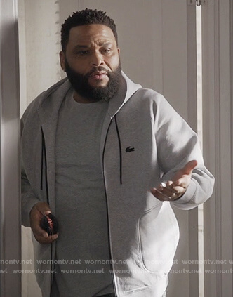 Andre's gray lacoste hooded sweatshirt on Black-ish