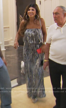 Teresa's snakeskin strapless jumpsuit on The Real Housewives of New Jersey