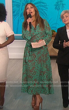 Carrie's green animal print wrap dress on The Talk