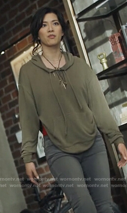 Grace's green hoodie with back cutout on Black Lightning