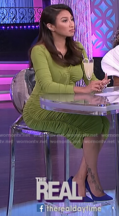 Jeannie's green ruched dress on The Real