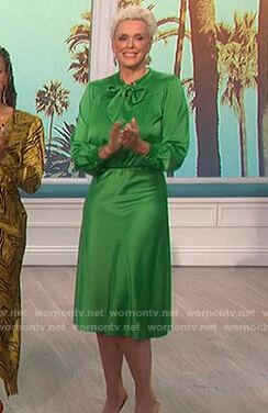 Brigitte Nielsen's green satin top and skirt on The Talk