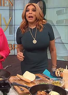 Wendy's green mesh inset midi dress on The Wendy Williams Show