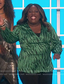 Sheryl's green zebra stripe top on The Talk
