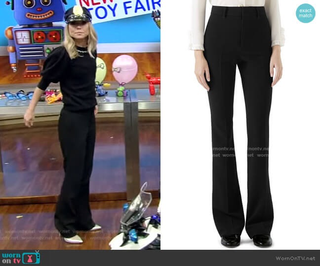Stretch Cady Skinny Flare Pants by Gucci worn by Kelly Ripa  on Live with Kelly & Ryan