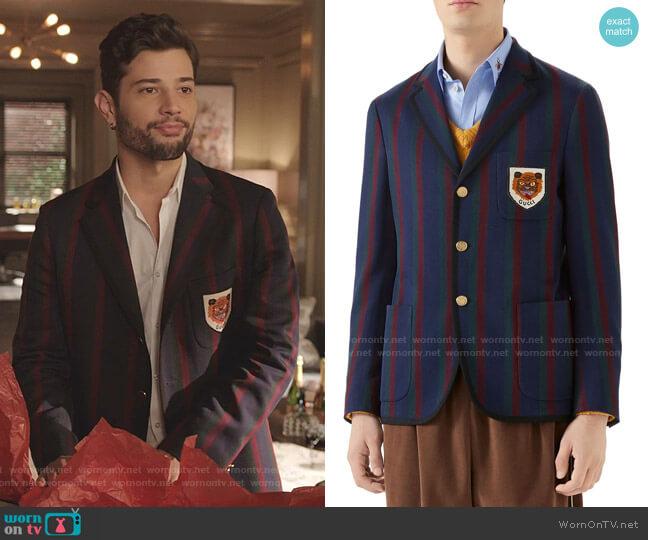 Tiger Patch Stripe Cotton Jacket by Gucci worn by Sam Flores (Rafael de la Fuente) on Dynasty
