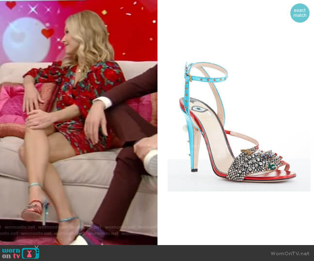 Embellished Metallic Leather Sandals by Gucci worn by Kelly Ripa  on Live with Kelly & Ryan