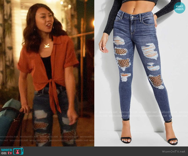 Guess Sexy Curve Faux-Pearl Fishnet Jeans worn by Kamilla Hwang (Victoria Park) on The Flash
