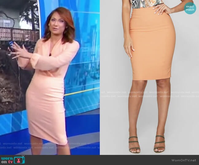 Sevil Pencil Skirt by Guess worn by Ginger Zee  on Good Morning America