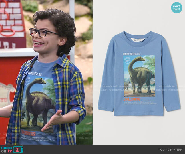Printed Jersey Shirt by H&M worn by Matteo Silva (Raphael Alejandro) on Bunkd