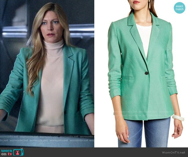 Halogen Ruched Sleeve Blazer worn by Ava Sharpe (Jes Macallan) on Legends of Tomorrow
