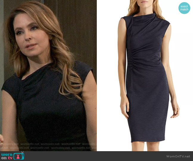 Halston Asymmetric Draped Dress worn by Olivia Falconeri (Lisa Lo Cicero) on General Hospital