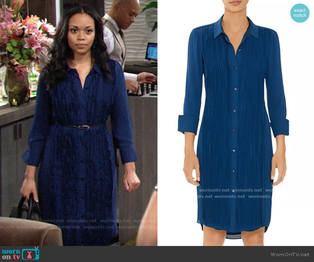 Halston Long Sleeve Pleated Shirt Dress worn by Amanda Sinclair (Mishael Morgan) on The Young & the Restless