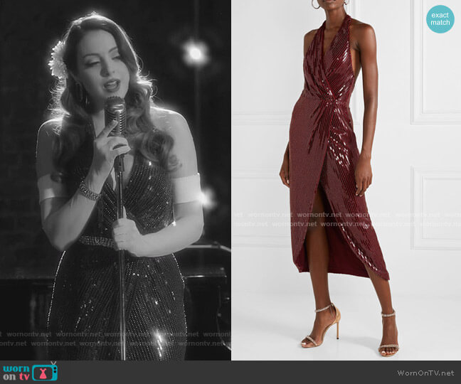 Aurora Wrap-Effect Embellished Mesh Halterneck Midi Dress by Haney worn by Fallon Carrington (Elizabeth Gillies) on Dynasty