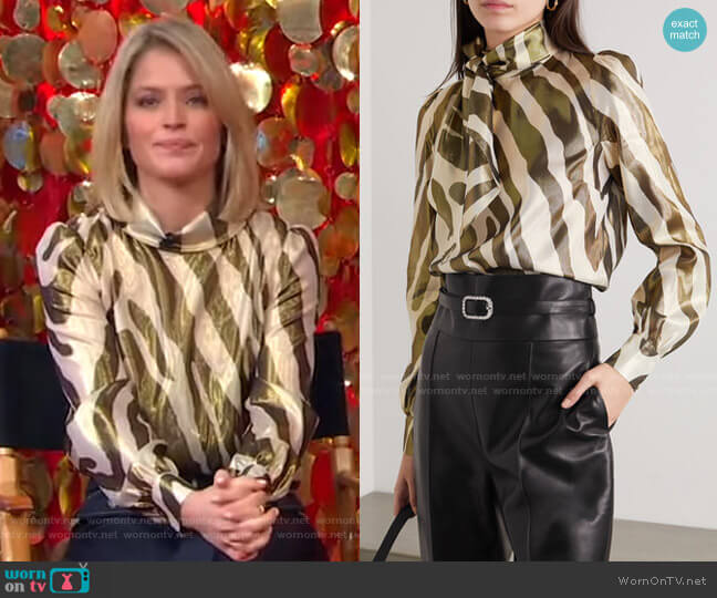 Billie Metallic Zebra-Print Blouse by Haney worn by Sara Haines  on Good Morning America