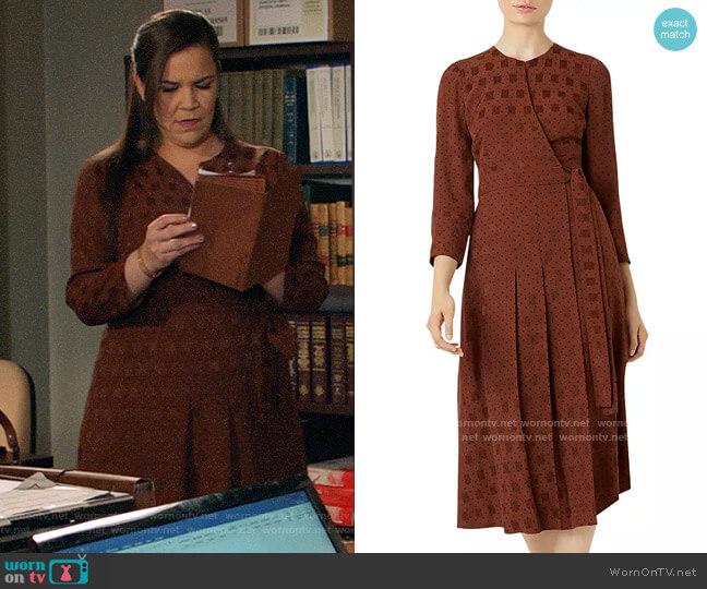 Hobbs London Hazel Pleated Jacquard Wrap Dress worn by Sara Castillo (Lindsay Mendez) on All Rise