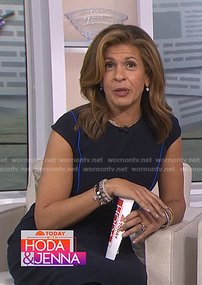 Hoda's black cap sleeve dress with blue piping on Today