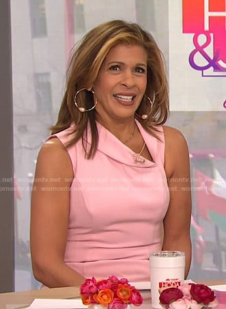 Hoda's pink asymmetric collar dress on Today