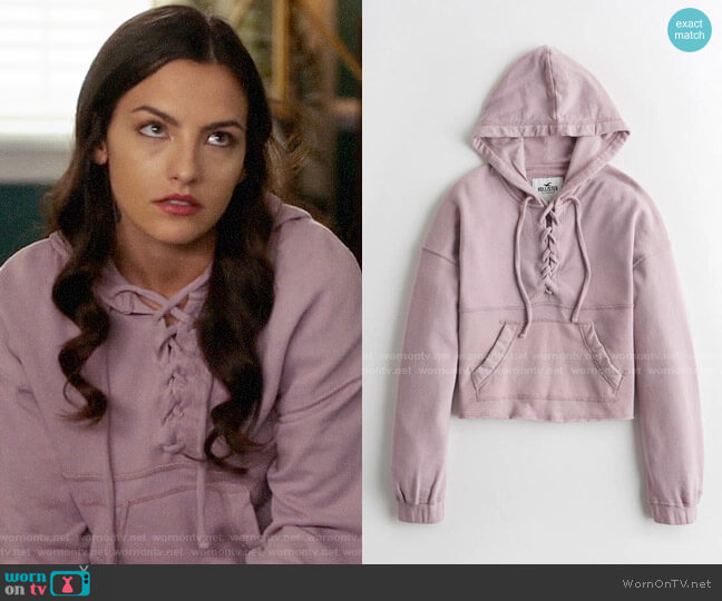 Hollister Lace Up French Terry Hoodie worn by Allegra Garcia (Kayla Compton) on The Flash