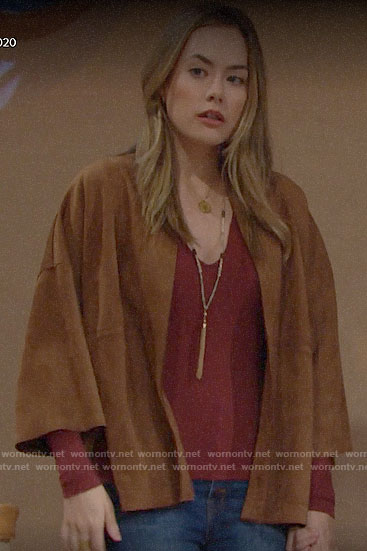 Hope's suede kimono jacket on The Bold and the Beautiful