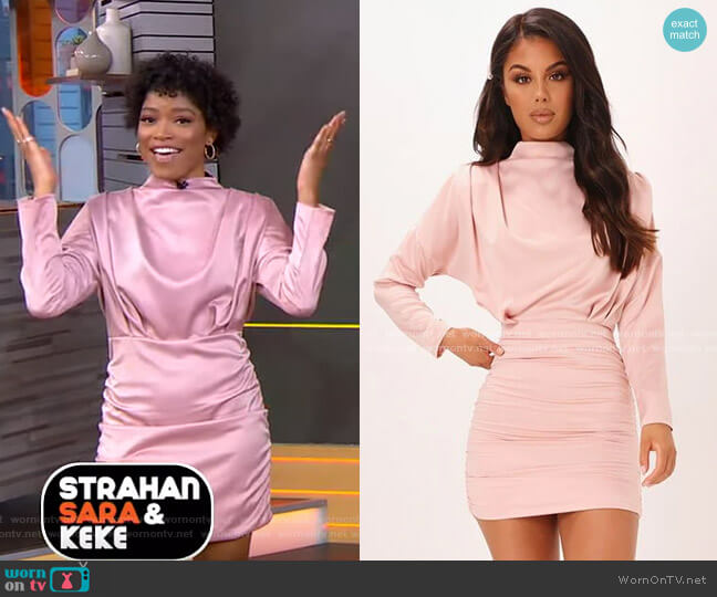 High Neck Ruched Back Satin Mini Dress by I Saw It First worn by Keke Palmer  on Good Morning America